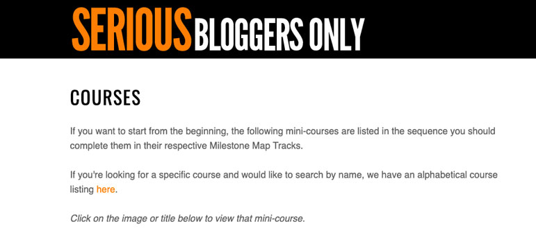 Serious Bloggers Only Membership Site