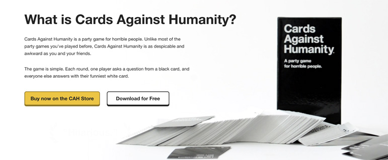 Cards Against Humanity copywriting