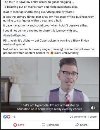Copyhacker Facebook ad