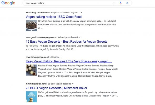 Google search results for easy vegan baking