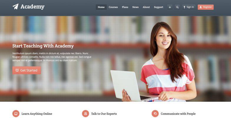 Screenshot of Academy theme