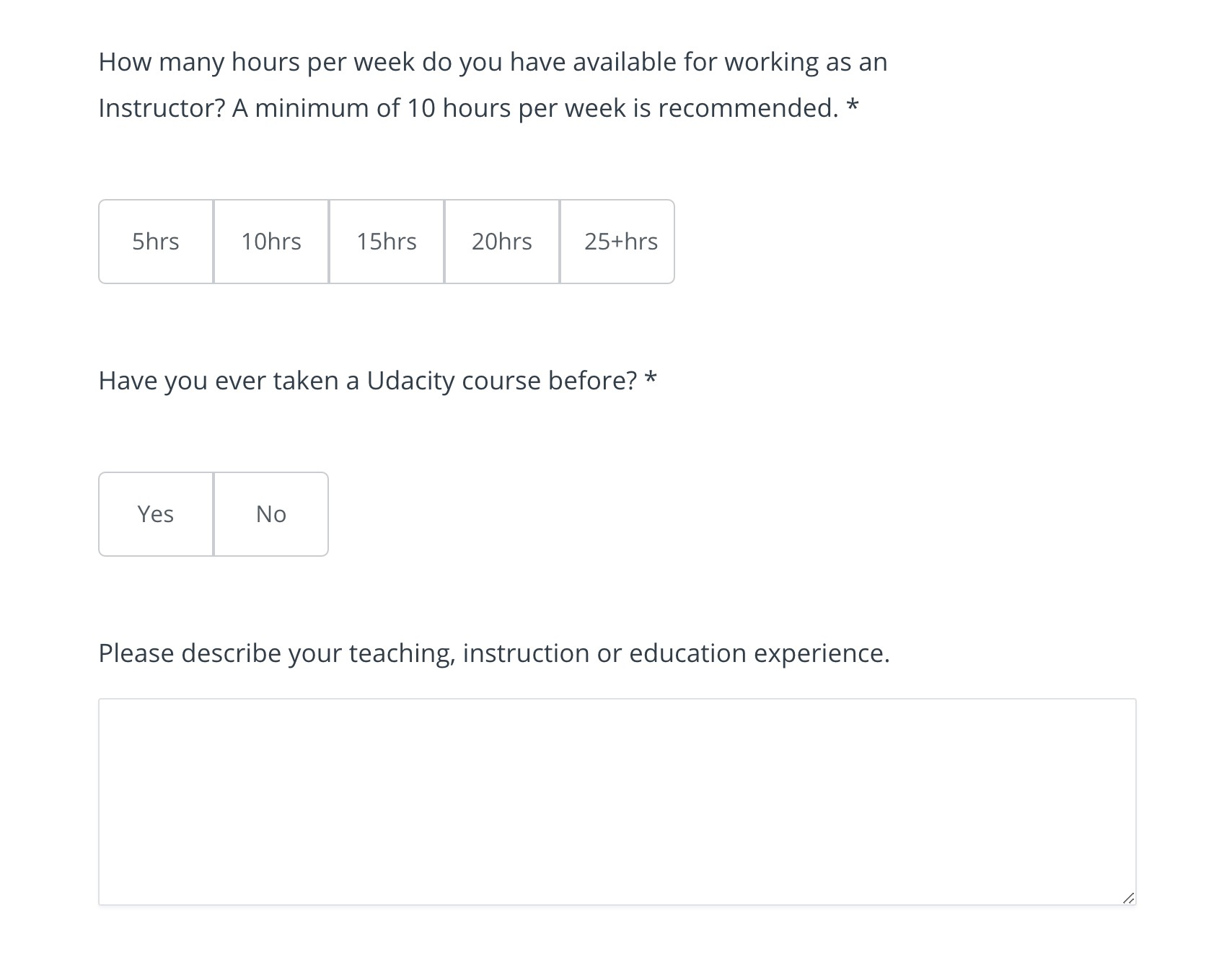 udemy questionnaire