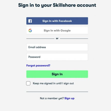 Skillshare login page