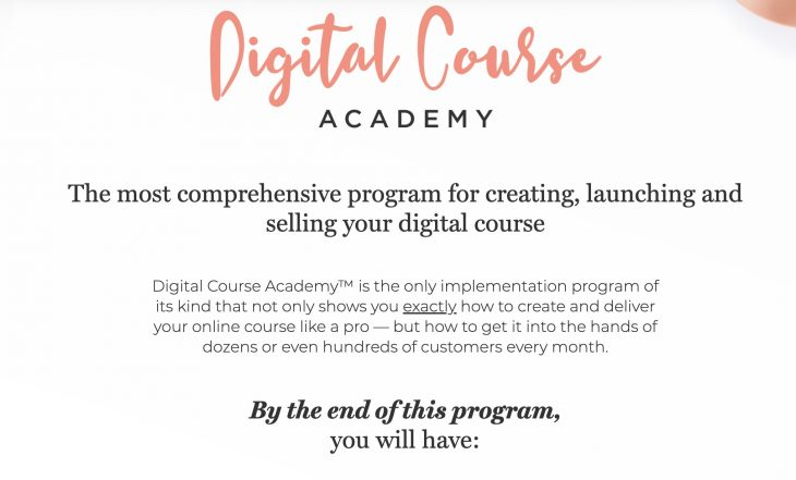 Digital Course Academy landing page