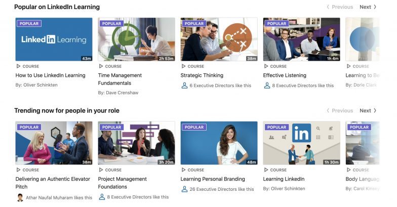 LinkedIn Learning course listing