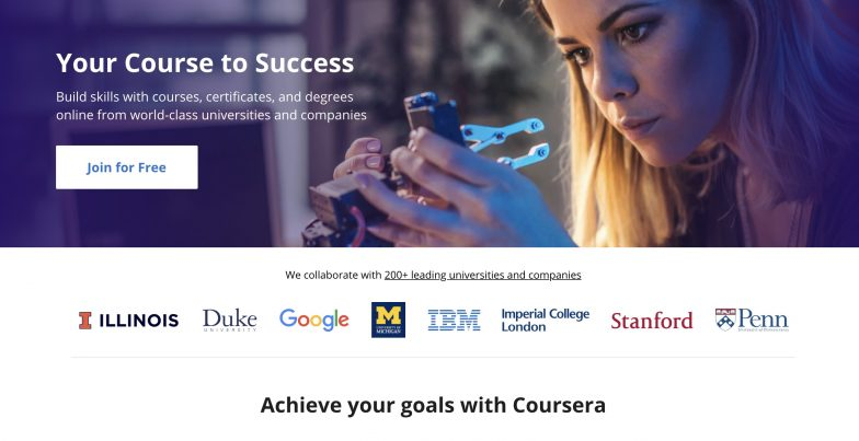 Coursera home page